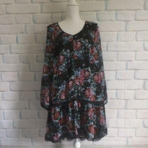 Maeve Anthropologie Black Floral Dress Size Medium